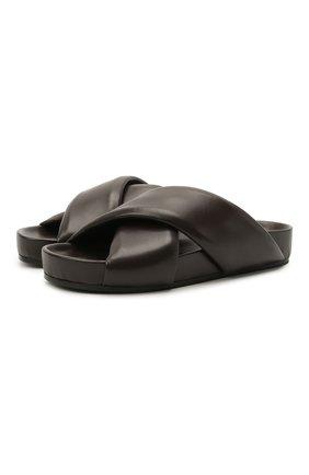 Женские кожаные шлепанцы JIL SANDER темно-коричневого цвета, арт. JS36073A-13013 | Фото 1 (Материал внутренний: Натуральная кожа; Подошва: Платформа)