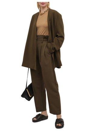 Женские кожаные шлепанцы JIL SANDER темно-коричневого цвета, арт. JS36073A-13013 | Фото 2 (Материал внутренний: Натуральная кожа; Подошва: Платформа)