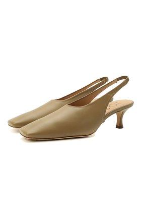 Женские кожаные туфли JOSEPH бежевого цвета, арт. J036004A/13002 | Фото 1 (Каблук высота: Средний; Материал внутренний: Натуральная кожа; Каблук тип: Шпилька; Подошва: Плоская)