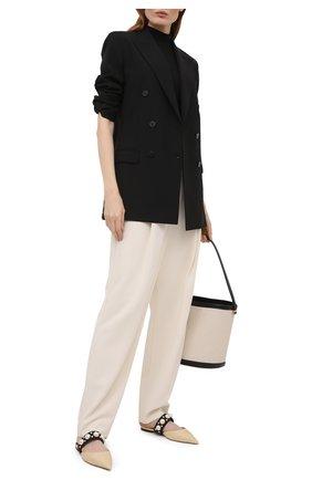 Женские текстильные сабо basette JIMMY CHOO бежевого цвета, арт. BASETTE FLAT/ABG | Фото 2