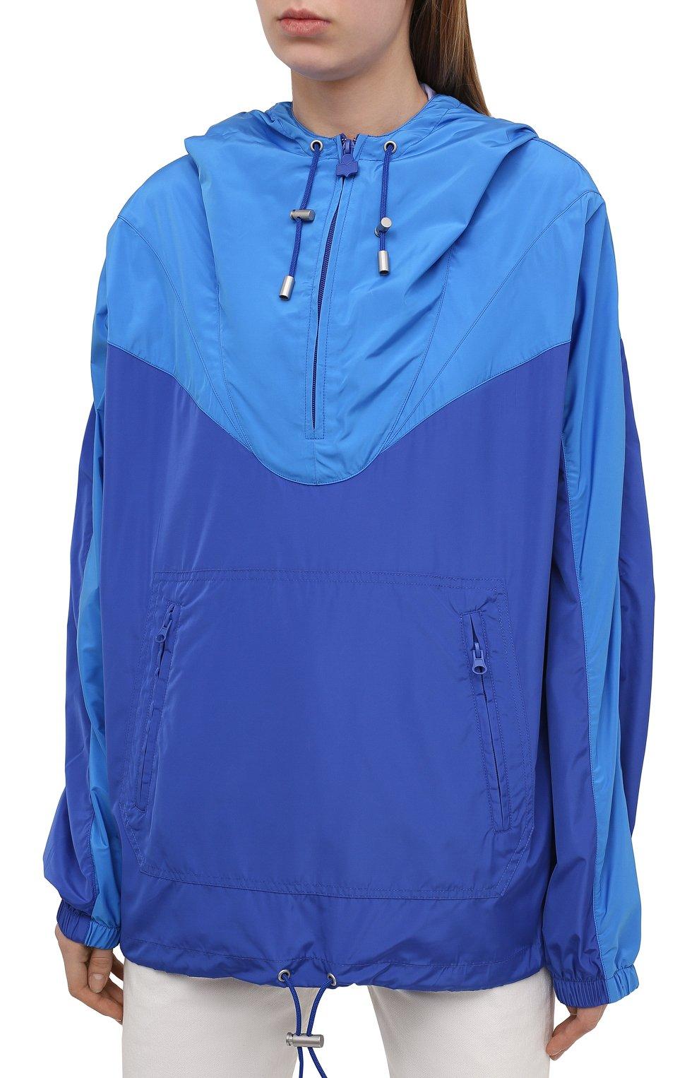 Женская анорак ISABEL MARANT ETOILE синего цвета, арт. MA0930-21P001W/RICHILI | Фото 3 (Кросс-КТ: Куртка, Ветровка; Рукава: Длинные; Женское Кросс-КТ: Куртка-спорт; Материал внешний: Синтетический материал; Стили: Спорт-шик; Длина (верхняя одежда): Короткие)