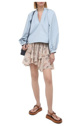 Женская хлопковая юбка ISABEL MARANT ETOILE бежевого цвета, арт. JU1239-21P031E/ALS0 | Фото 2