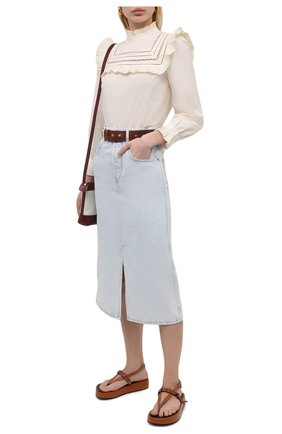 Женская джинсовая юбка ISABEL MARANT ETOILE светло-голубого цвета, арт. JU1245-21P019E/LAURINA   Фото 2