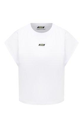 Женская хлопковая футболка MSGM белого цвета, арт. 3045MDM02 217298 | Фото 1