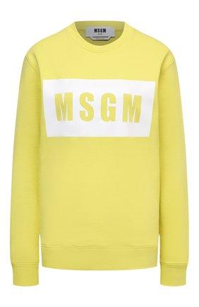 Женский хлопковый свитшот MSGM желтого цвета, арт. 3041MDM96 217299 | Фото 1