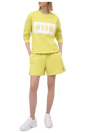 Женский хлопковый свитшот MSGM желтого цвета, арт. 3041MDM96 217299 | Фото 2