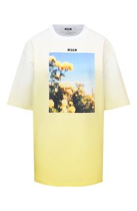 Женская хлопковая футболка MSGM желтого цвета, арт. 3041MDM176 217298 | Фото 1