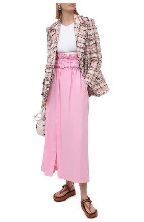 Женская хлопковая юбка MSGM светло-розового цвета, арт. 3041MDD04A 217104 | Фото 2