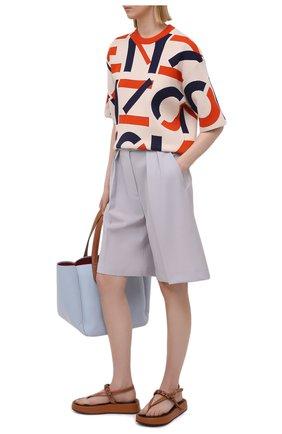 Женские шерстяные шорты MSGM светло-серого цвета, арт. 3041MDB04 217113 | Фото 2