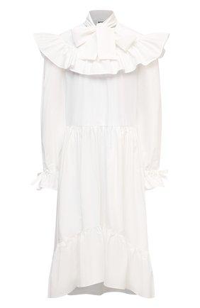 Женское хлопковое платье MSGM белого цвета, арт. 3041MDA23 217104 | Фото 1