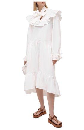 Женское хлопковое платье MSGM белого цвета, арт. 3041MDA23 217104 | Фото 2