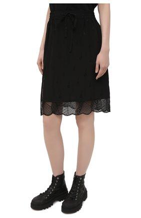 Женская шелковая юбка ZADIG&VOLTAIRE черного цвета, арт. PWGCP0301F   Фото 3