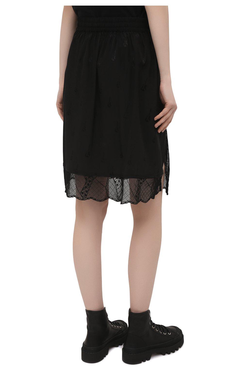 Женская шелковая юбка ZADIG&VOLTAIRE черного цвета, арт. PWGCP0301F   Фото 4