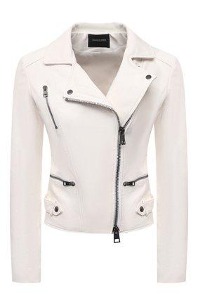 Женская кожаная куртка SIMONETTA RAVIZZA белого цвета, арт. S01JA02L1/114 | Фото 1