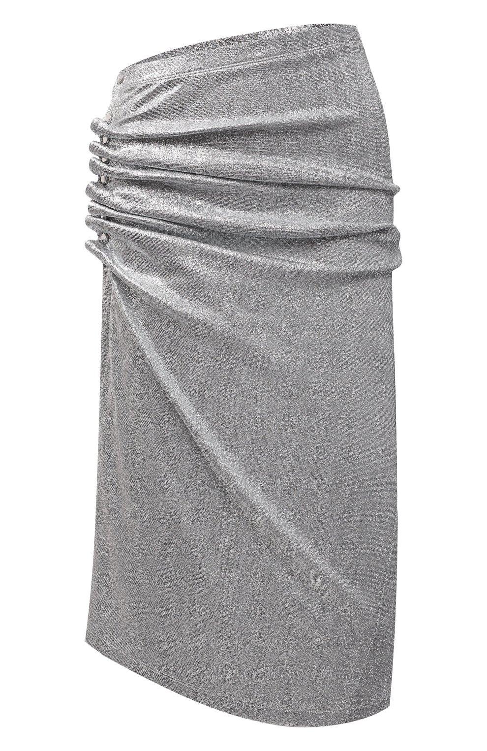 Женская юбка из вискозы PACO RABANNE серебряного цвета, арт. 20PJJU007VI0222 | Фото 1
