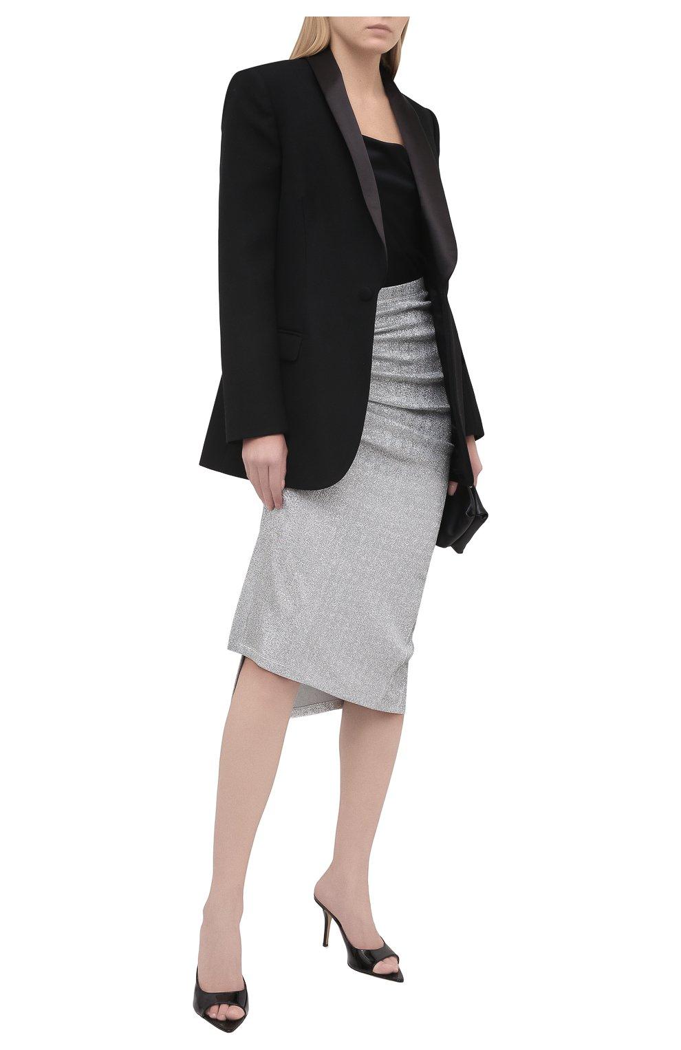Женская юбка из вискозы PACO RABANNE серебряного цвета, арт. 20PJJU007VI0222 | Фото 2