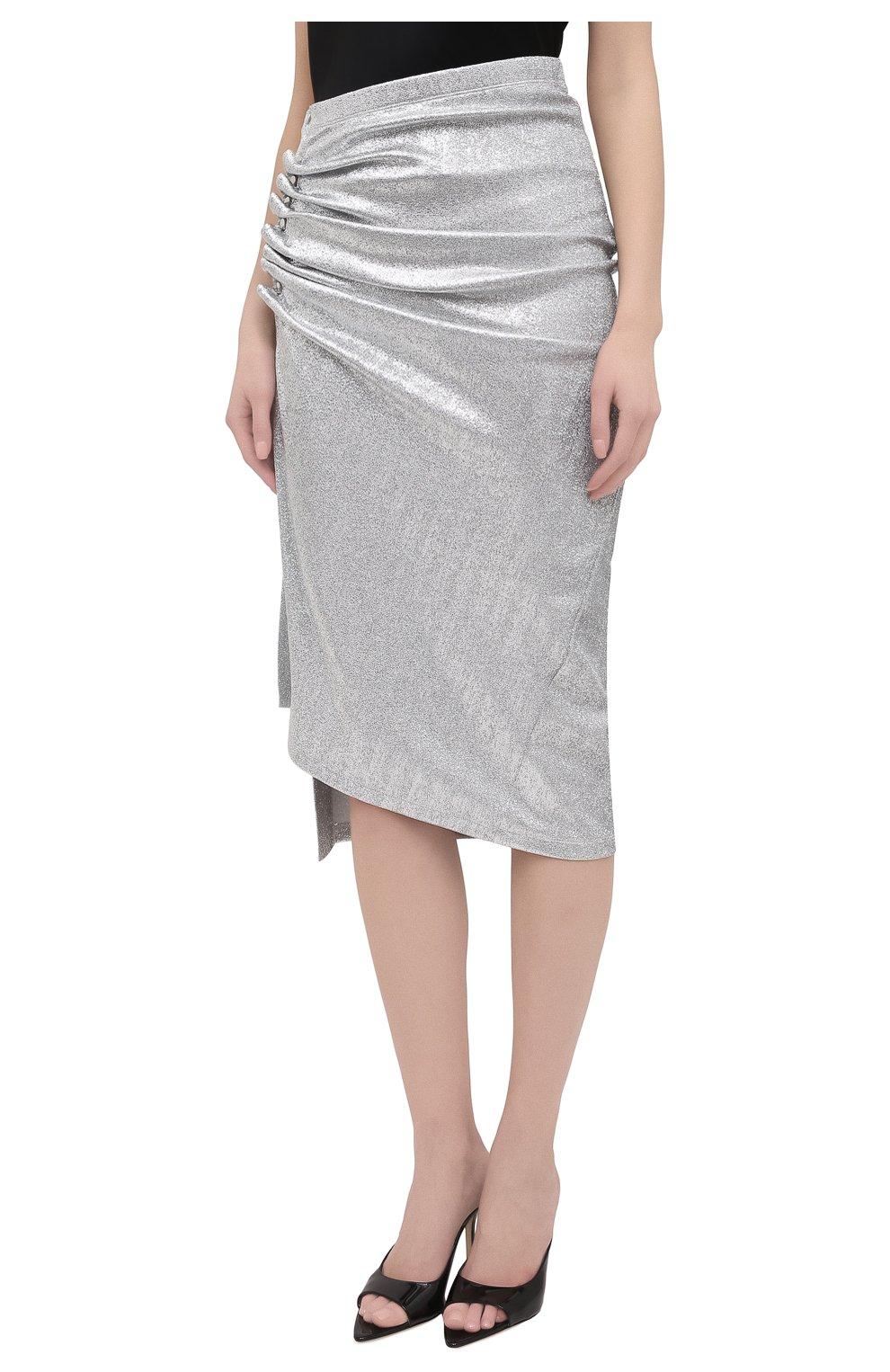 Женская юбка из вискозы PACO RABANNE серебряного цвета, арт. 20PJJU007VI0222 | Фото 3