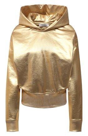 Женский хлопковое худи VALENTINO золотого цвета, арт. VB3MF09F6A2 | Фото 1