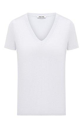 Женская льняная футболка MAX&MOI светло-голубого цвета, арт. PERT0KY0 | Фото 1