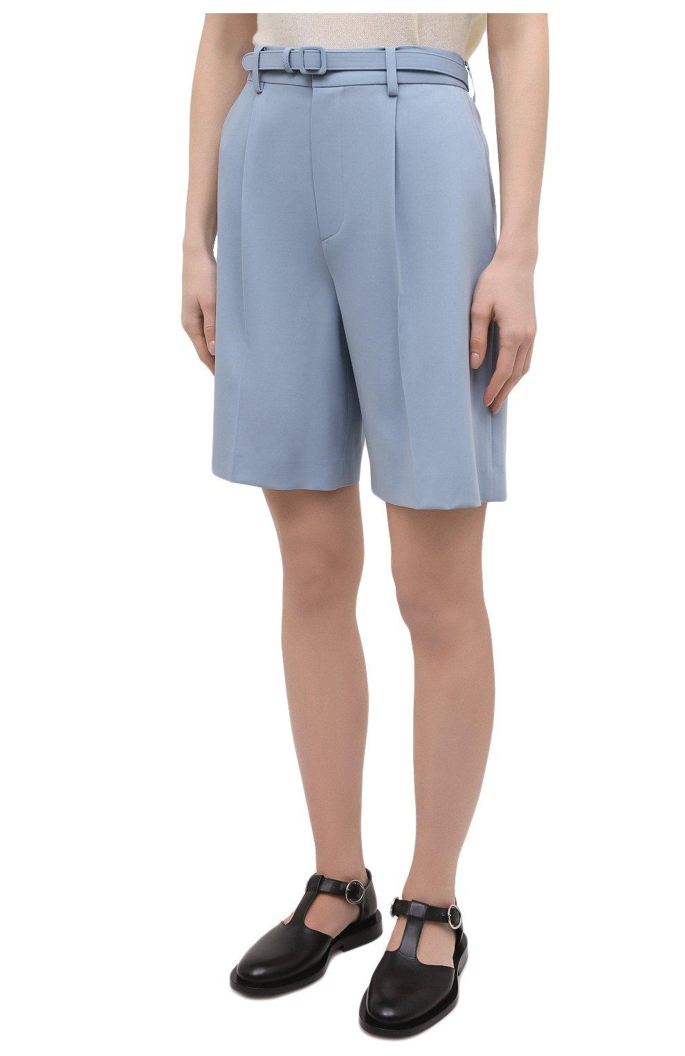 Женские шерстяные шорты RALPH LAUREN светло-голубого цвета, арт. 290842607 | Фото 3 (Женское Кросс-КТ: Шорты-одежда; Материал внешний: Шерсть; Длина Ж (юбки, платья, шорты): Мини; Кросс-КТ: Широкие; Стили: Романтичный)