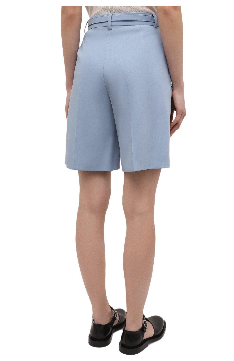 Женские шерстяные шорты RALPH LAUREN светло-голубого цвета, арт. 290842607 | Фото 4 (Женское Кросс-КТ: Шорты-одежда; Материал внешний: Шерсть; Длина Ж (юбки, платья, шорты): Мини; Кросс-КТ: Широкие; Стили: Романтичный)