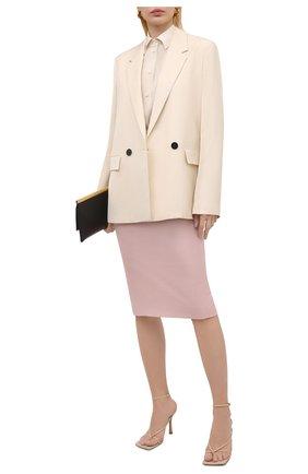 Женская шерстяная юбка KITON светло-розового цвета, арт. D19209K09T26 | Фото 2