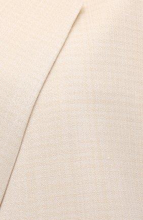 Женский жакет из шелка и вискозы JIL SANDER светло-бежевого цвета, арт. JSPS130010-WS390300   Фото 5 (Материал внешний: Шелк, Вискоза; Рукава: Длинные; Случай: Повседневный; Длина (для топов): Удлиненные; Материал подклада: Вискоза; Стили: Романтичный; 1-2-бортные: Двубортные; Женское Кросс-КТ: Жакет-одежда)