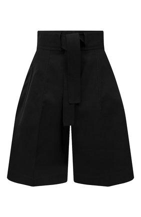 Женские хлопковые шорты JIL SANDER черного цвета, арт. JSPS311505-WS241600 | Фото 1 (Материал внешний: Хлопок; Стили: Гламурный; Женское Кросс-КТ: Шорты-одежда; Кросс-КТ: Широкие; Длина Ж (юбки, платья, шорты): До колена)