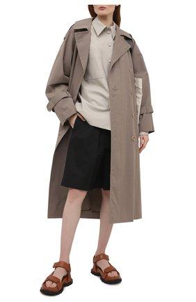 Женские хлопковые шорты JIL SANDER черного цвета, арт. JSPS311505-WS241600 | Фото 2 (Материал внешний: Хлопок; Стили: Гламурный; Женское Кросс-КТ: Шорты-одежда; Кросс-КТ: Широкие; Длина Ж (юбки, платья, шорты): До колена)