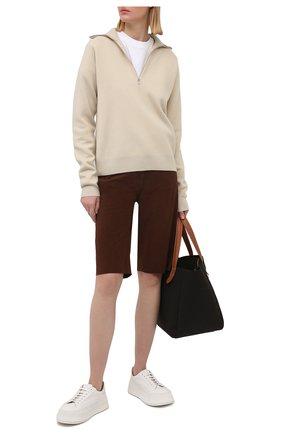 Женские замшевые шорты TOTÊME коричневого цвета, арт. 212-201-730 | Фото 2
