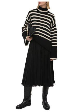 Женский свитер из шерсти и хлопка TOTÊME черно-белого цвета, арт. 212-562-758 | Фото 2