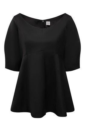 Женская блузка из вискозы TOTÊME черного цвета, арт. 212-754-700 | Фото 1 (Материал внешний: Вискоза; Материал подклада: Вискоза; Длина (для топов): Стандартные; Стили: Кэжуэл; Женское Кросс-КТ: Блуза-одежда; Принт: Без принта; Рукава: Короткие)
