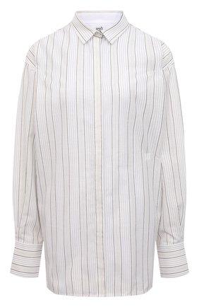 Женская рубашка из вискозы и хлопка TOTÊME белого цвета, арт. 212-756-712   Фото 1 (Рукава: Длинные; Материал внешний: Хлопок, Вискоза; Длина (для топов): Удлиненные; Стили: Кэжуэл; Женское Кросс-КТ: Рубашка-одежда; Принт: С принтом, Полоска)