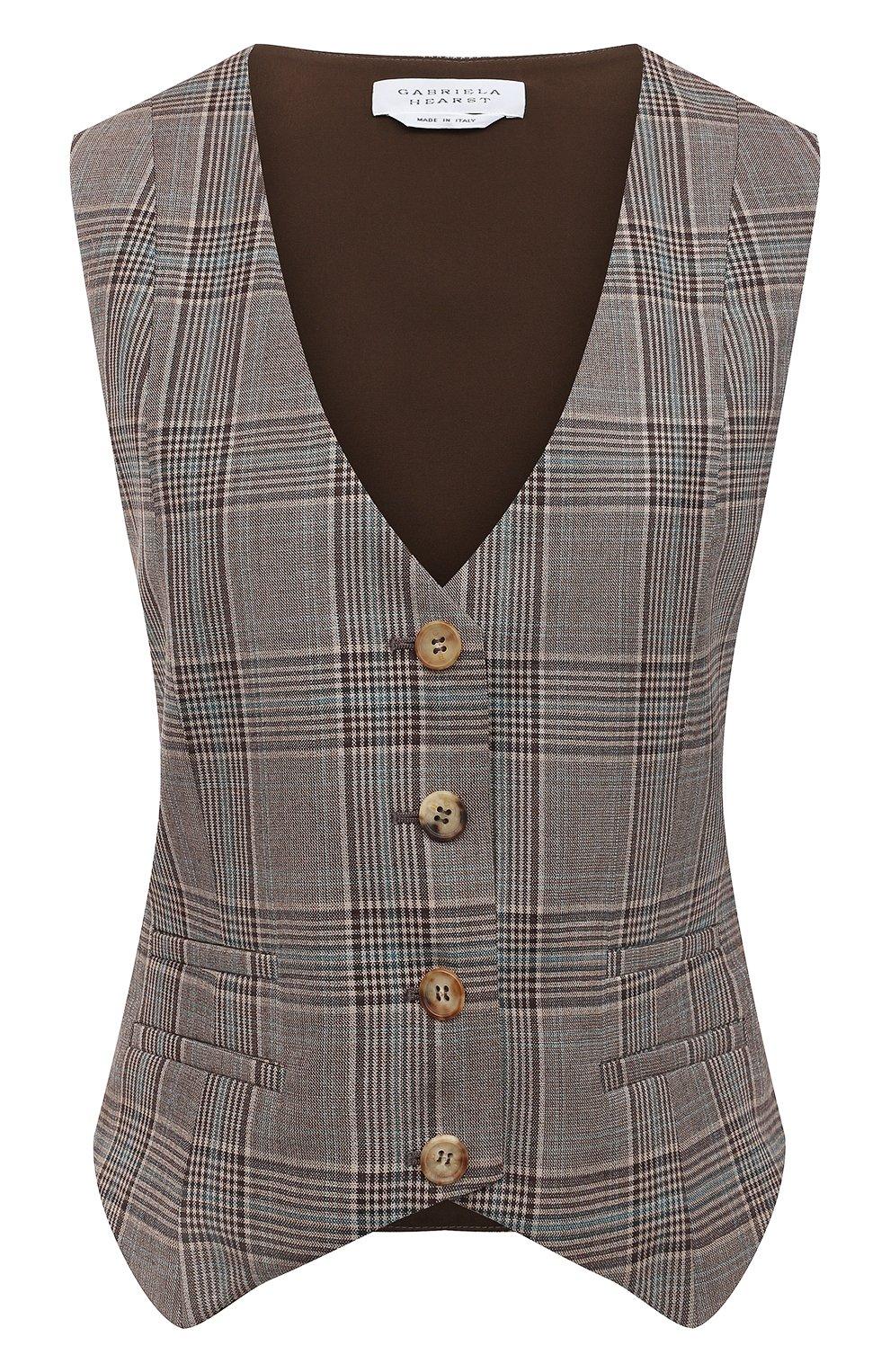 Женский шерстяной жилет GABRIELA HEARST темно-серого цвета, арт. 321513 W047 | Фото 1 (Материал внешний: Шерсть; Женское Кросс-КТ: Жилет-одежда, Жакет-одежда; Стили: Классический; Длина (верхняя одежда): Короткие; Материал подклада: Шелк)