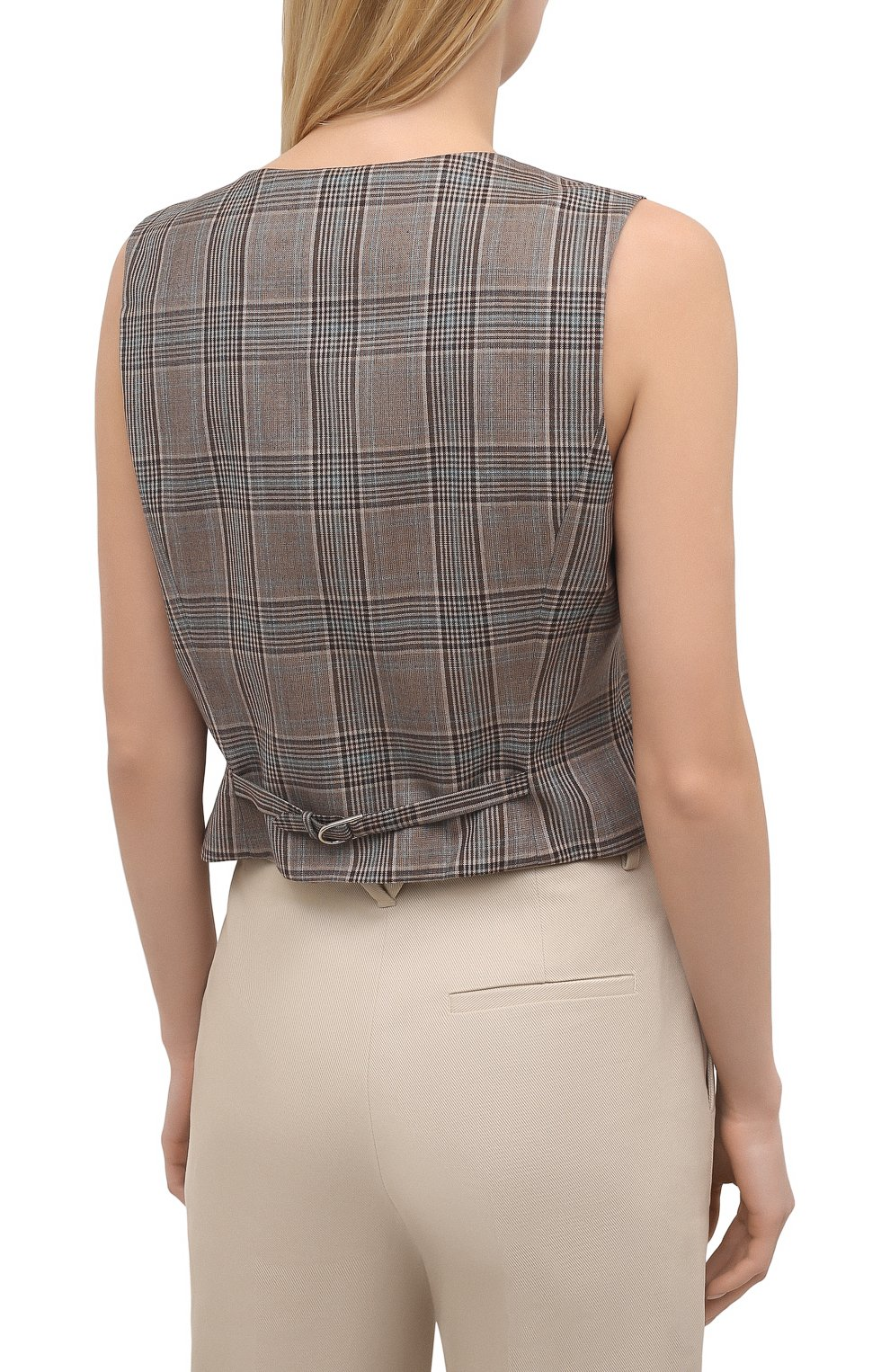 Женский шерстяной жилет GABRIELA HEARST темно-серого цвета, арт. 321513 W047 | Фото 4 (Материал внешний: Шерсть; Женское Кросс-КТ: Жилет-одежда, Жакет-одежда; Стили: Классический; Длина (верхняя одежда): Короткие; Материал подклада: Шелк)