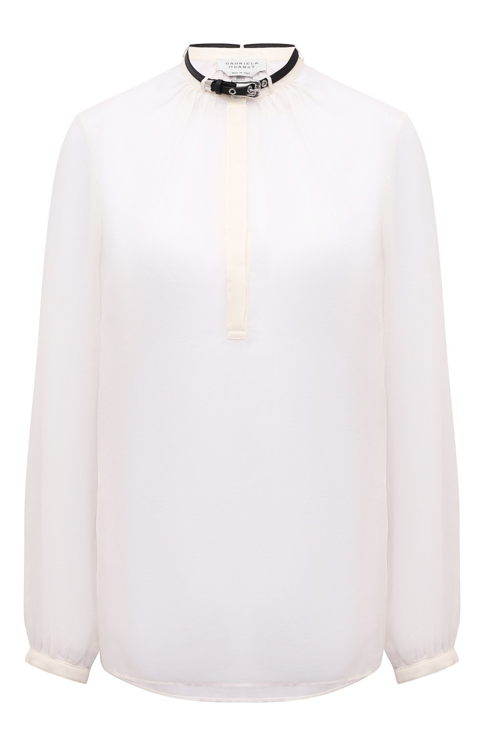 Женская хлопковая блузка GABRIELA HEARST светло-бежевого цвета, арт. 321121 S038   Фото 1 (Материал внешний: Шелк, Хлопок; Рукава: Длинные; Принт: Без принта; Длина (для топов): Стандартные; Стили: Классический; Женское Кросс-КТ: Блуза-одежда)