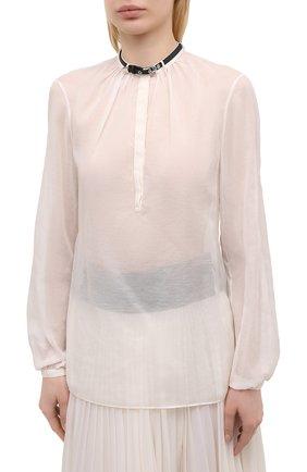 Женская хлопковая блузка GABRIELA HEARST светло-бежевого цвета, арт. 321121 S038   Фото 3 (Материал внешний: Шелк, Хлопок; Рукава: Длинные; Принт: Без принта; Длина (для топов): Стандартные; Стили: Классический; Женское Кросс-КТ: Блуза-одежда)