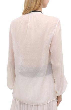 Женская хлопковая блузка GABRIELA HEARST светло-бежевого цвета, арт. 321121 S038   Фото 4 (Материал внешний: Шелк, Хлопок; Рукава: Длинные; Принт: Без принта; Длина (для топов): Стандартные; Стили: Классический; Женское Кросс-КТ: Блуза-одежда)