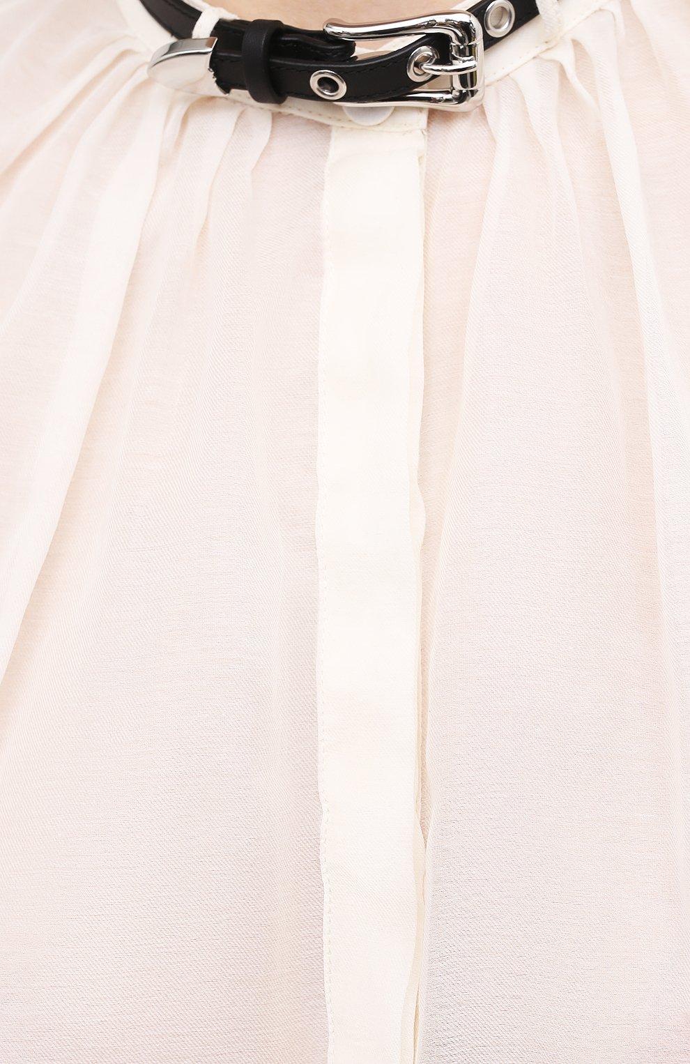 Женская хлопковая блузка GABRIELA HEARST светло-бежевого цвета, арт. 321121 S038   Фото 5 (Материал внешний: Шелк, Хлопок; Рукава: Длинные; Принт: Без принта; Длина (для топов): Стандартные; Стили: Классический; Женское Кросс-КТ: Блуза-одежда)