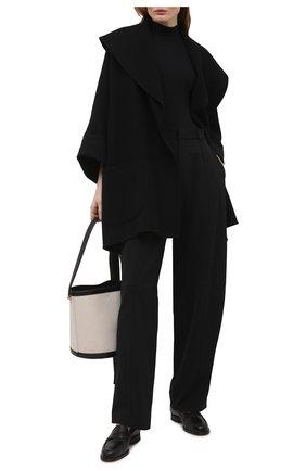 Женское шерстяное полупальто THE ROW черного цвета, арт. 5612W2013 | Фото 2 (Материал внешний: Кашемир, Шерсть; Длина (верхняя одежда): До середины бедра; Рукава: Длинные; Стили: Минимализм; 1-2-бортные: Однобортные)