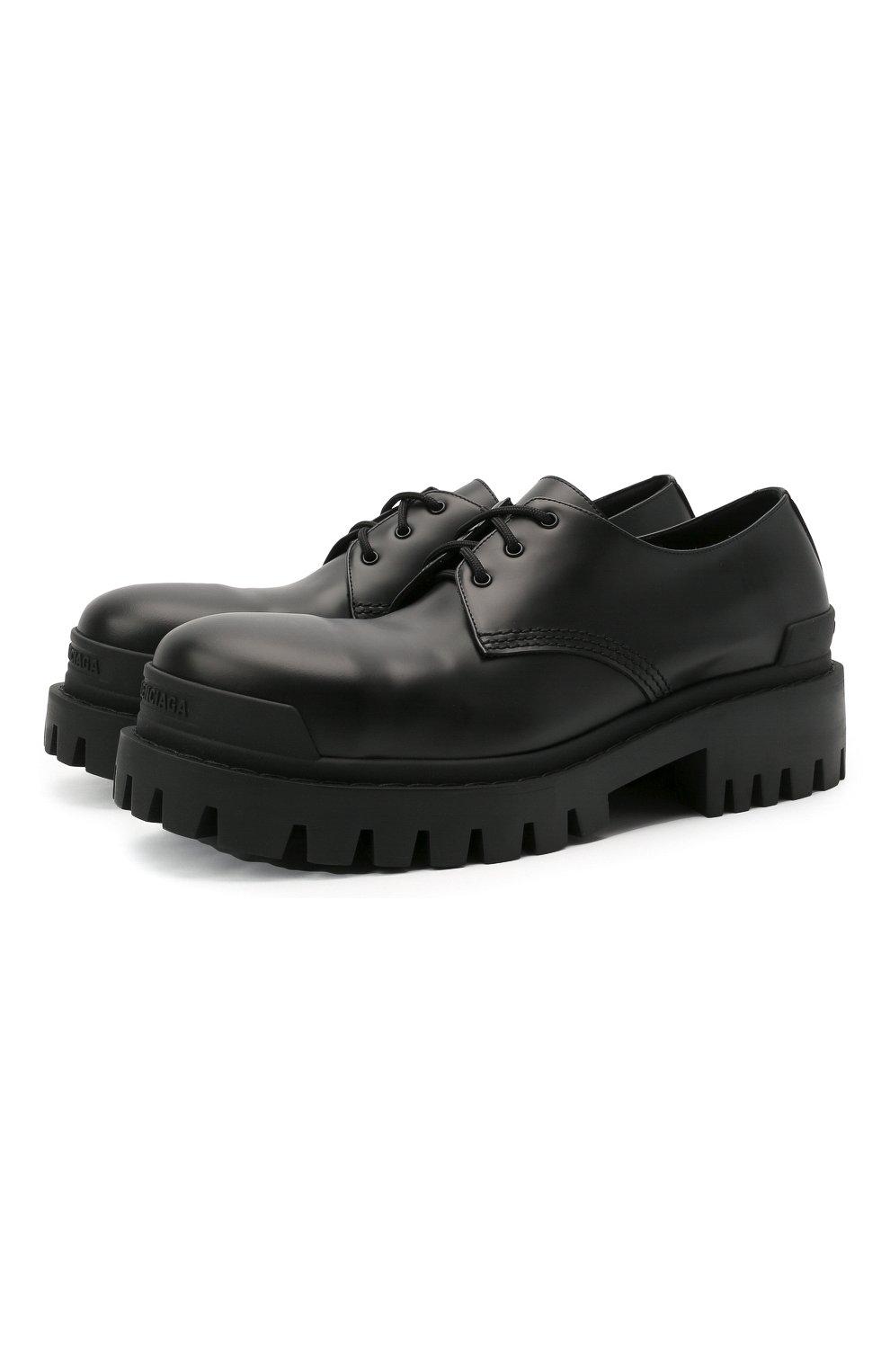 Мужские кожаные ботинки strike BALENCIAGA черного цвета, арт. 600600/WA960 | Фото 1 (Каблук высота: Высокий; Мужское Кросс-КТ: Ботинки-обувь; Материал внутренний: Натуральная кожа; Подошва: Массивная)