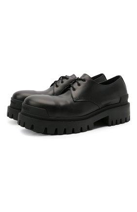 Мужские кожаные ботинки strike BALENCIAGA черного цвета, арт. 600600/WA960 | Фото 1