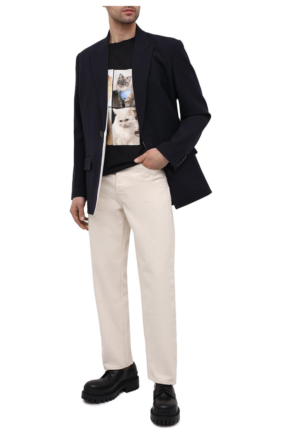 Мужские кожаные ботинки strike BALENCIAGA черного цвета, арт. 600600/WA960 | Фото 2 (Каблук высота: Высокий; Мужское Кросс-КТ: Ботинки-обувь; Материал внутренний: Натуральная кожа; Подошва: Массивная)