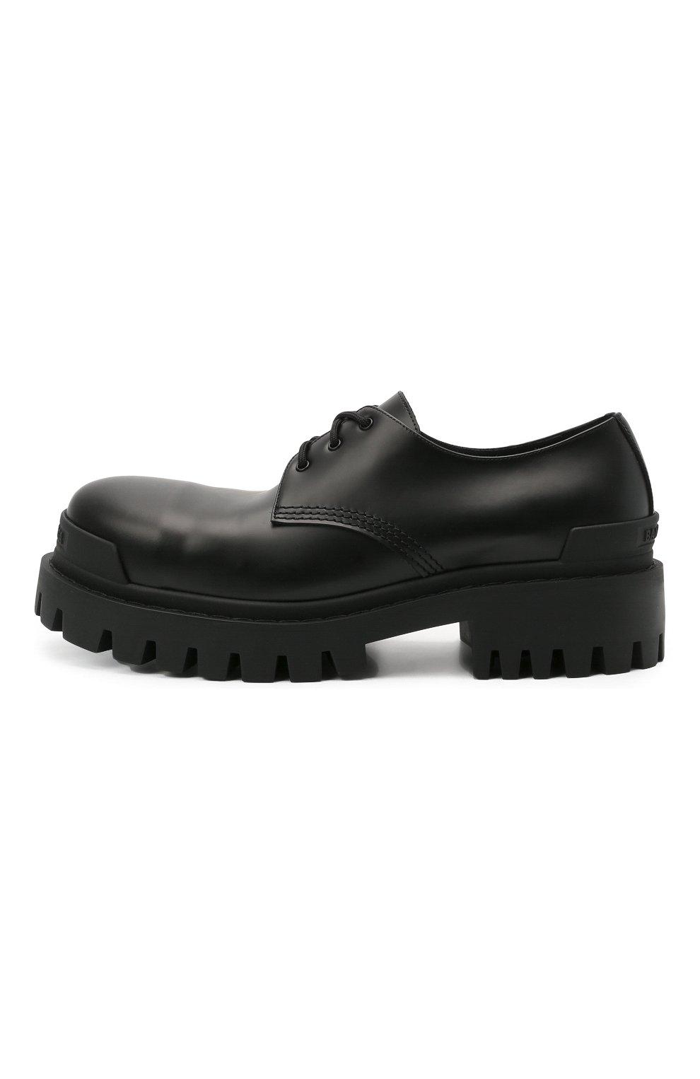 Мужские кожаные ботинки strike BALENCIAGA черного цвета, арт. 600600/WA960 | Фото 3 (Каблук высота: Высокий; Мужское Кросс-КТ: Ботинки-обувь; Материал внутренний: Натуральная кожа; Подошва: Массивная)