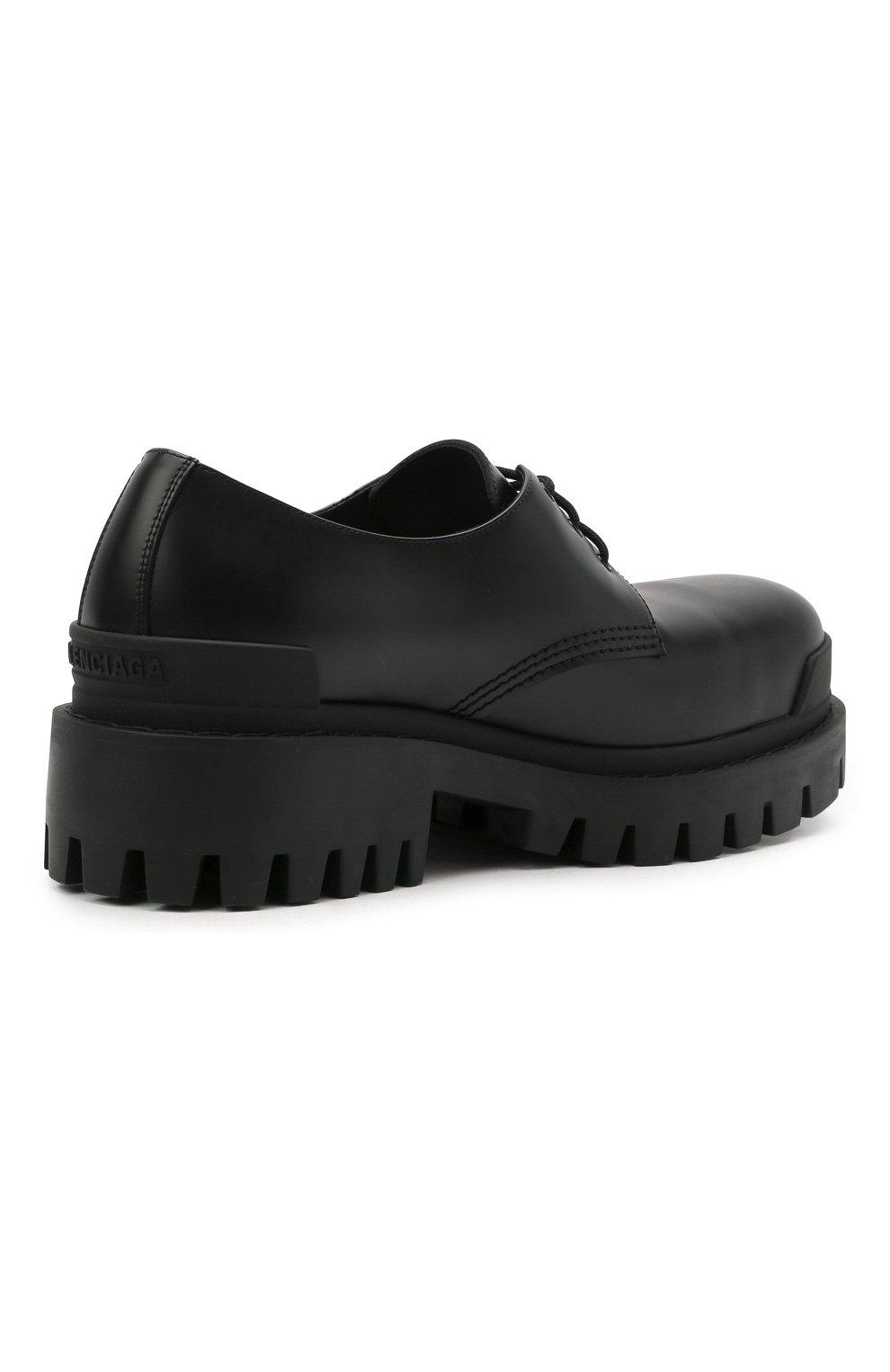 Мужские кожаные ботинки strike BALENCIAGA черного цвета, арт. 600600/WA960 | Фото 4 (Каблук высота: Высокий; Мужское Кросс-КТ: Ботинки-обувь; Материал внутренний: Натуральная кожа; Подошва: Массивная)