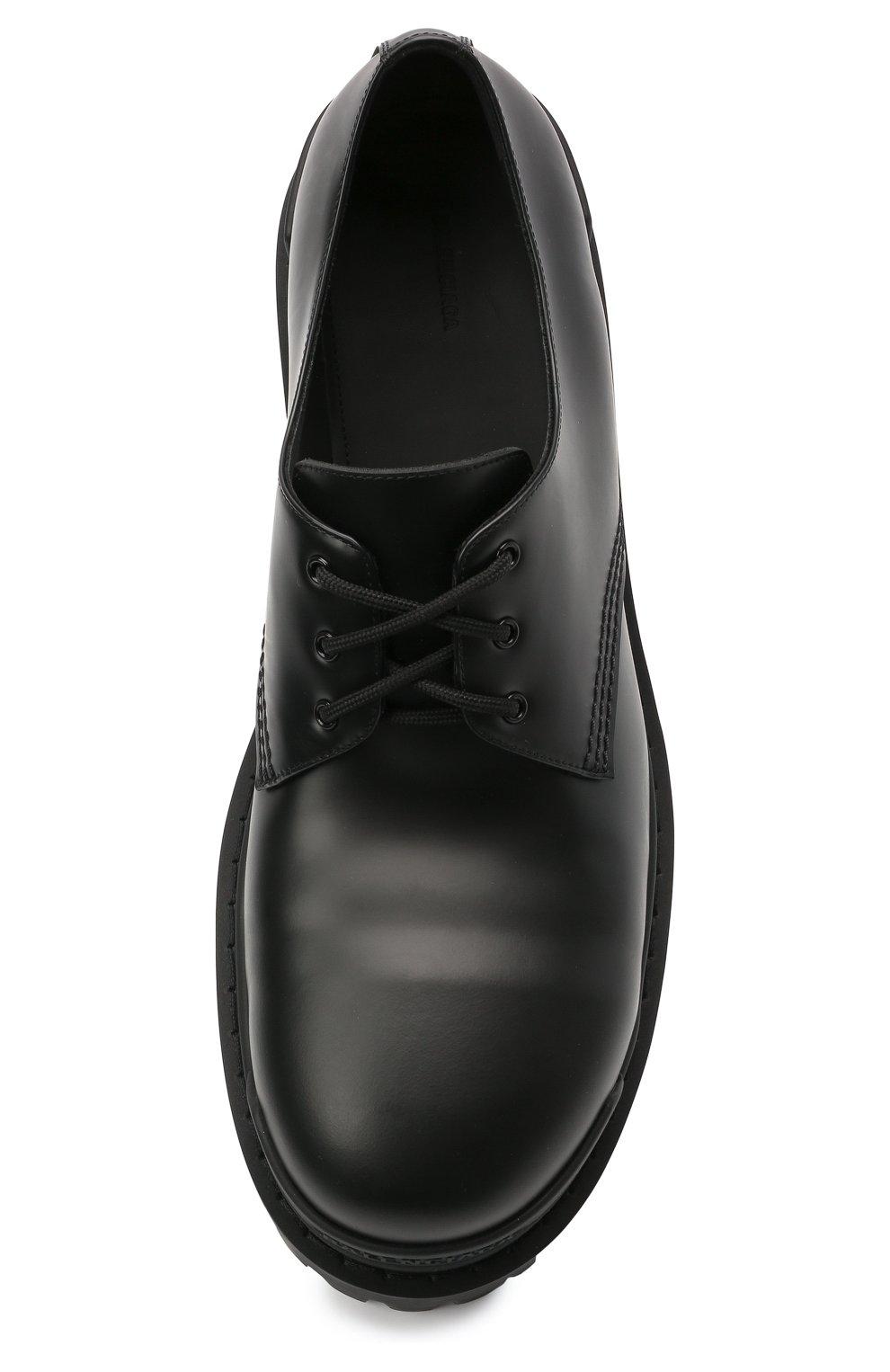 Мужские кожаные ботинки strike BALENCIAGA черного цвета, арт. 600600/WA960 | Фото 5 (Каблук высота: Высокий; Мужское Кросс-КТ: Ботинки-обувь; Материал внутренний: Натуральная кожа; Подошва: Массивная)