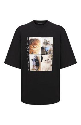 Мужская хлопковая футболка BALENCIAGA черного цвета, арт. 641614/TJVG8 | Фото 1 (Материал внешний: Хлопок; Длина (для топов): Удлиненные; Принт: С принтом; Стили: Гранж; Рукава: Короткие)