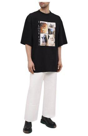 Мужская хлопковая футболка BALENCIAGA черного цвета, арт. 641614/TJVG8 | Фото 2 (Материал внешний: Хлопок; Длина (для топов): Удлиненные; Принт: С принтом; Стили: Гранж; Рукава: Короткие)