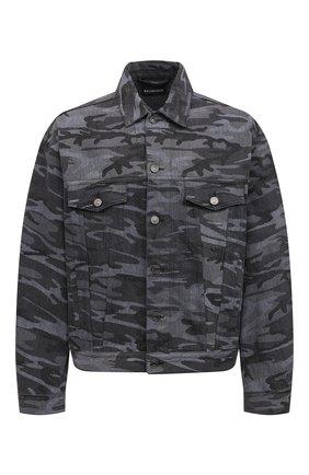 Мужская джинсовая куртка BALENCIAGA серого цвета, арт. 620731/TJW55 | Фото 1 (Длина (верхняя одежда): Короткие; Рукава: Длинные; Материал внешний: Хлопок; Кросс-КТ: Куртка, Деним; Стили: Гранж)