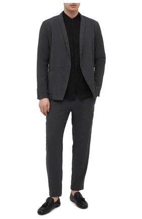 Мужской пиджак из хлопка и льна TRANSIT темно-серого цвета, арт. CFUTRNH171   Фото 2